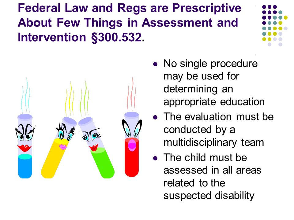 Federal Law and Regs are Prescriptive About Few Things in Assessment and Intervention §300.532.