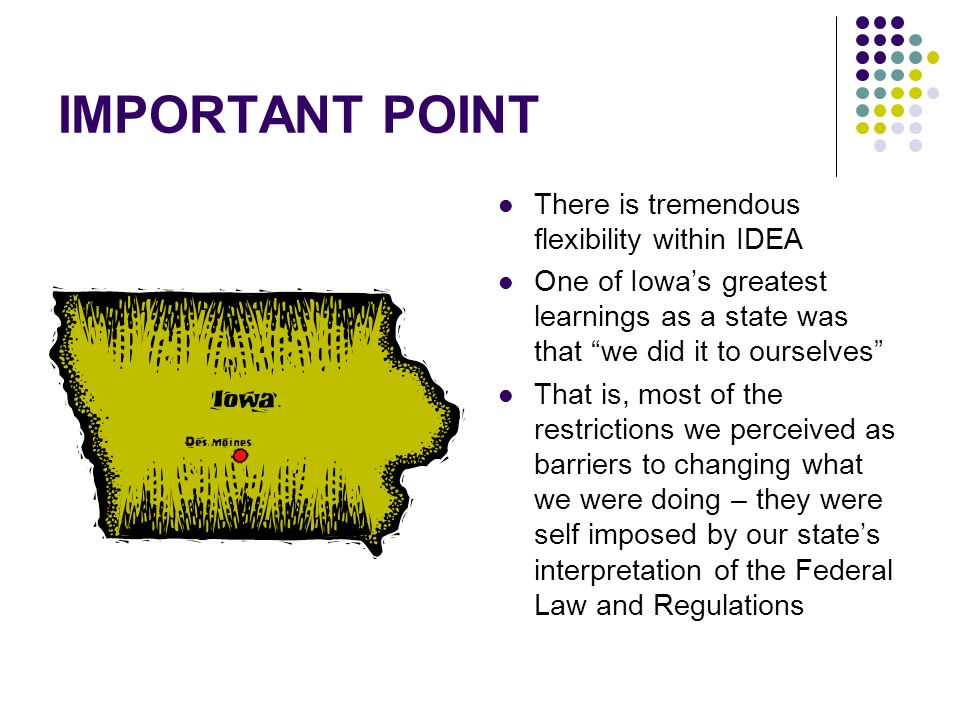 IMPORTANT POINT There is tremendous flexibility within IDEA One of Iowas greatest learnings as a state was that we did it to ourselves That is, most of the restrictions we perceived as barriers to changing what we were doing – they were self imposed by our states interpretation of the Federal Law and Regulations