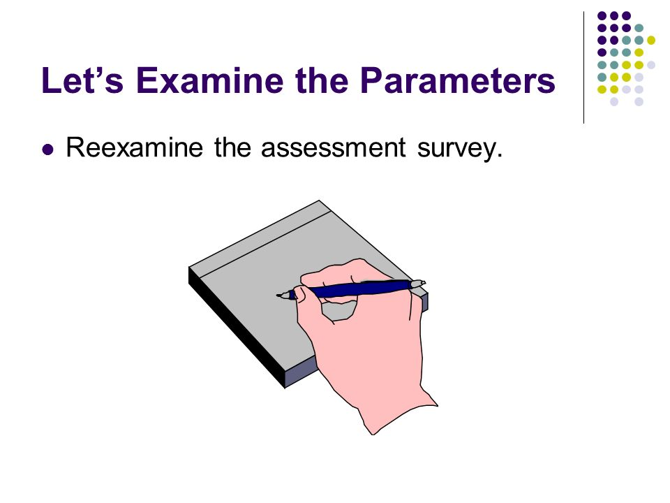 Lets Examine the Parameters Reexamine the assessment survey.