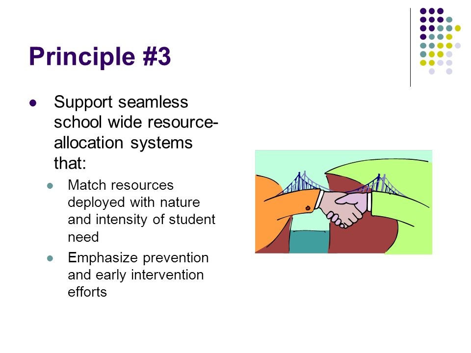 Principle #3 Support seamless school wide resource- allocation systems that: Match resources deployed with nature and intensity of student need Emphasize prevention and early intervention efforts