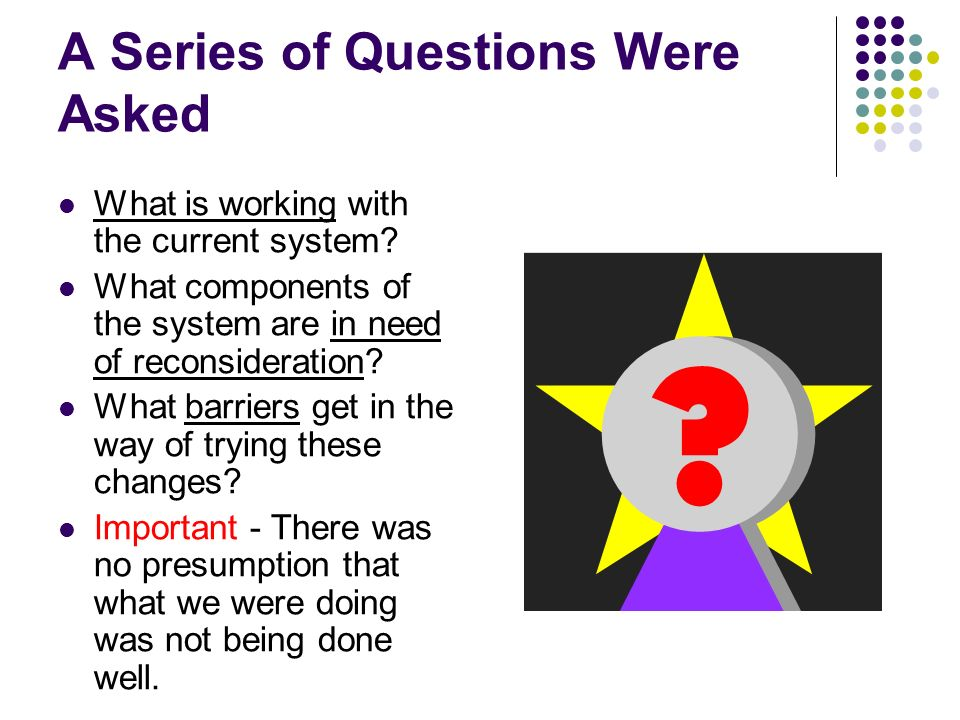 A Series of Questions Were Asked What is working with the current system.