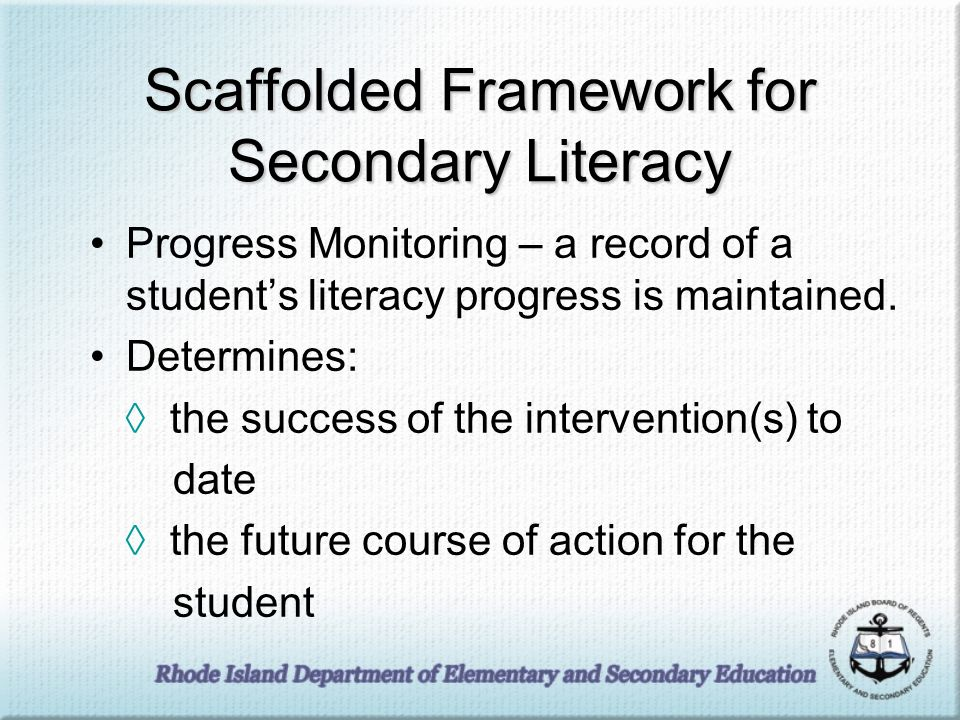 Scaffolded Framework for Secondary Literacy Progress Monitoring – a record of a students literacy progress is maintained.