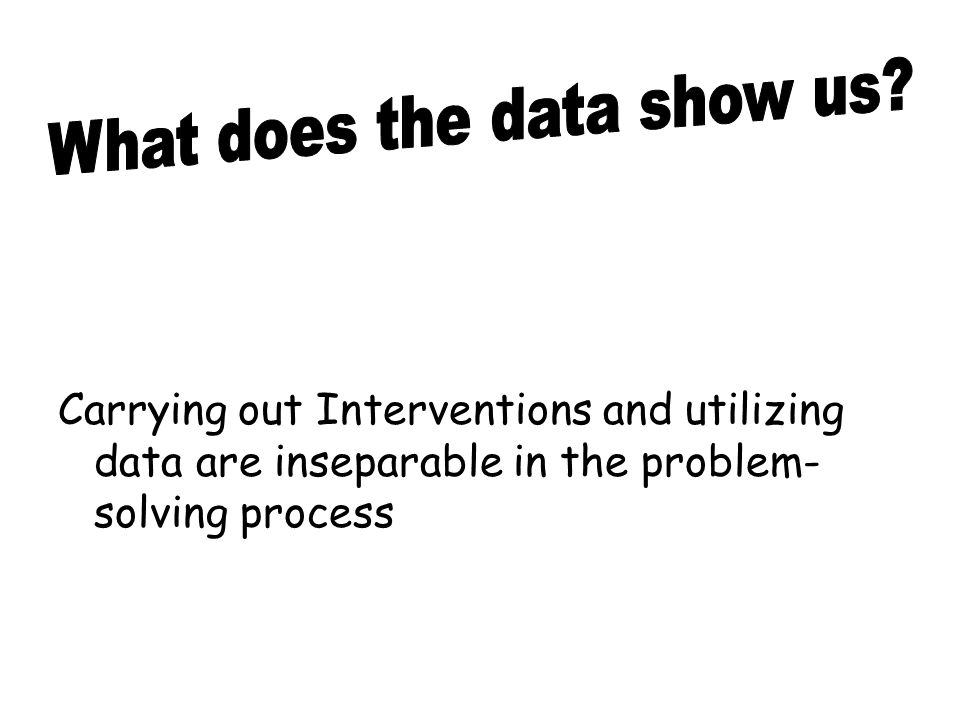 Carrying out Interventions and utilizing data are inseparable in the problem- solving process