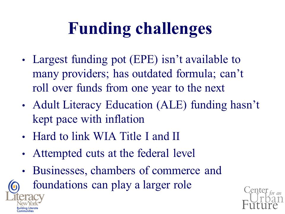 Funding challenges Largest funding pot (EPE) isnt available to many providers; has outdated formula; cant roll over funds from one year to the next Adult Literacy Education (ALE) funding hasnt kept pace with inflation Hard to link WIA Title I and II Attempted cuts at the federal level Businesses, chambers of commerce and foundations can play a larger role