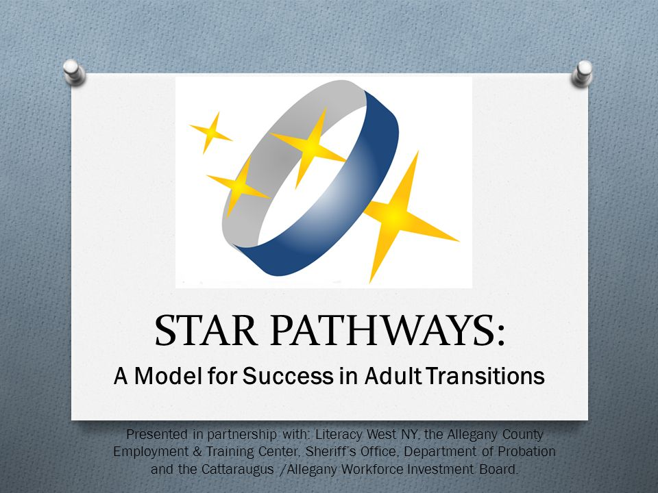 A Model for Success in Adult Transitions STAR PATHWAYS: Presented in partnership with: Literacy West NY, the Allegany County Employment & Training Center, Sheriffs Office, Department of Probation and the Cattaraugus /Allegany Workforce Investment Board.
