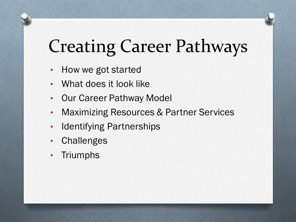 Creating Career Pathways How we got started What does it look like Our Career Pathway Model Maximizing Resources & Partner Services Identifying Partnerships Challenges Triumphs