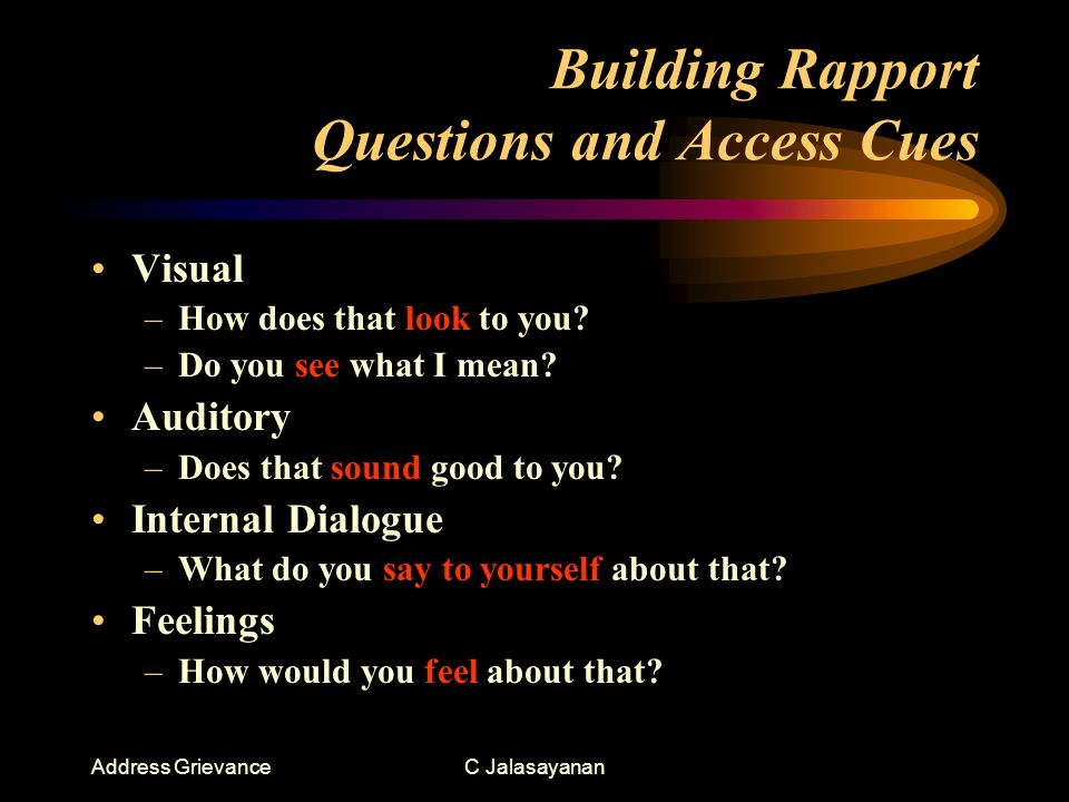 Address GrievanceC Jalasayanan Building Rapport Questions and Access Cues Visual –How does that look to you.