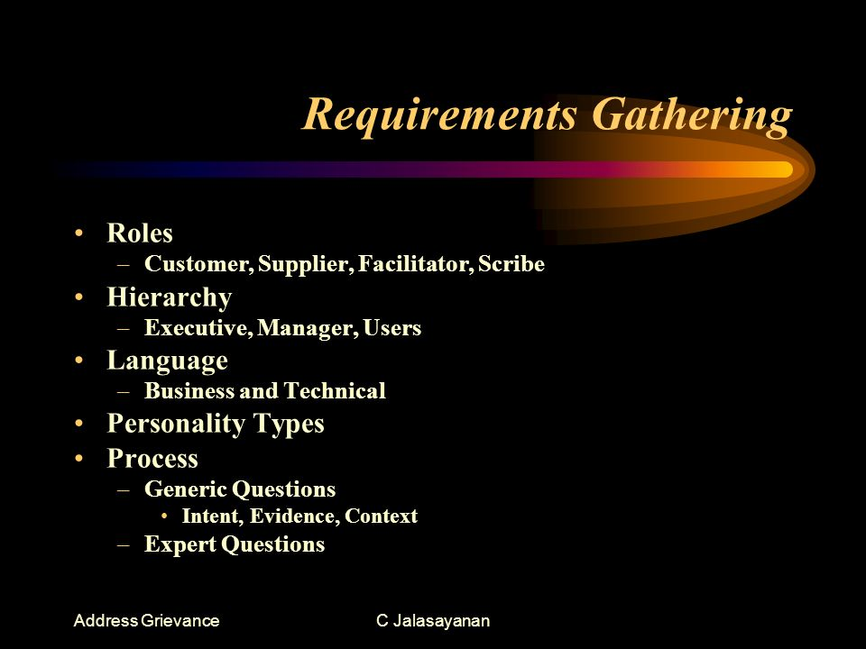 Address GrievanceC Jalasayanan Requirements Gathering Roles –Customer, Supplier, Facilitator, Scribe Hierarchy –Executive, Manager, Users Language –Business and Technical Personality Types Process –Generic Questions Intent, Evidence, Context –Expert Questions