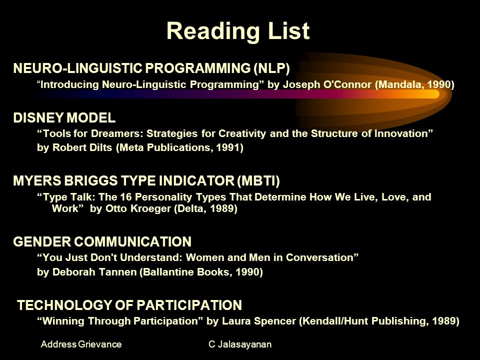 Address GrievanceC Jalasayanan Reading List NEURO-LINGUISTIC PROGRAMMING (NLP) Introducing Neuro-Linguistic Programming by Joseph O Connor (Mandala, 1990) DISNEY MODEL Tools for Dreamers: Strategies for Creativity and the Structure of Innovation by Robert Dilts (Meta Publications, 1991) MYERS BRIGGS TYPE INDICATOR (MBTI) Type Talk: The 16 Personality Types That Determine How We Live, Love, and Work by Otto Kroeger (Delta, 1989) GENDER COMMUNICATION You Just Don t Understand: Women and Men in Conversation by Deborah Tannen (Ballantine Books, 1990) TECHNOLOGY OF PARTICIPATION Winning Through Participation by Laura Spencer (Kendall/Hunt Publishing, 1989)