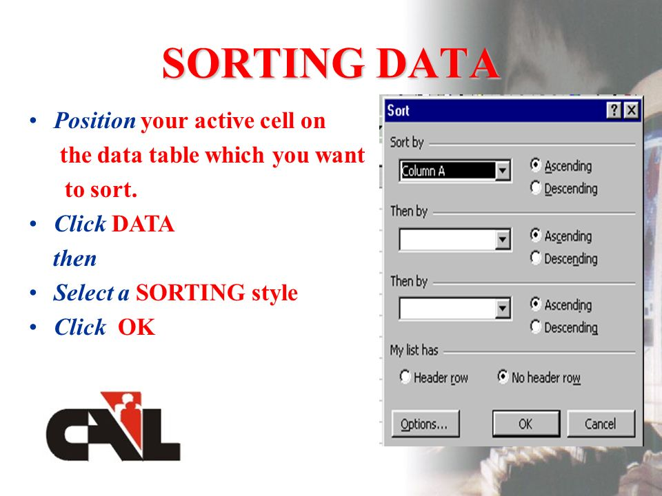 SORTING DATA Position your active cell on the data table which you want to sort.