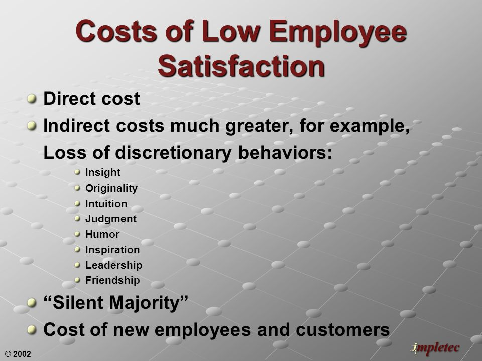 © 2002 Costs of Low Employee Satisfaction Direct cost Indirect costs much greater, for example, Loss of discretionary behaviors: Insight Originality Intuition Judgment Humor Inspiration Leadership Friendship Silent Majority Cost of new employees and customers