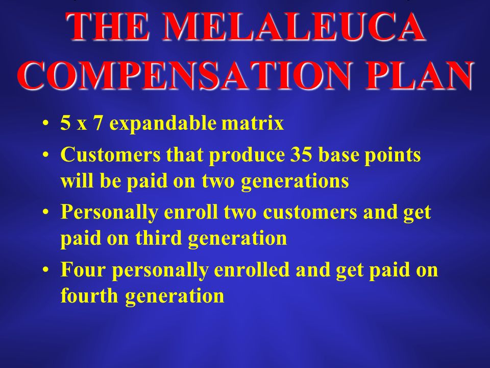THE MELALEUCA COMPENSATION PLAN 5 x 7 expandable matrix Customers that produce 35 base points will be paid on two generations Personally enroll two customers and get paid on third generation Four personally enrolled and get paid on fourth generation