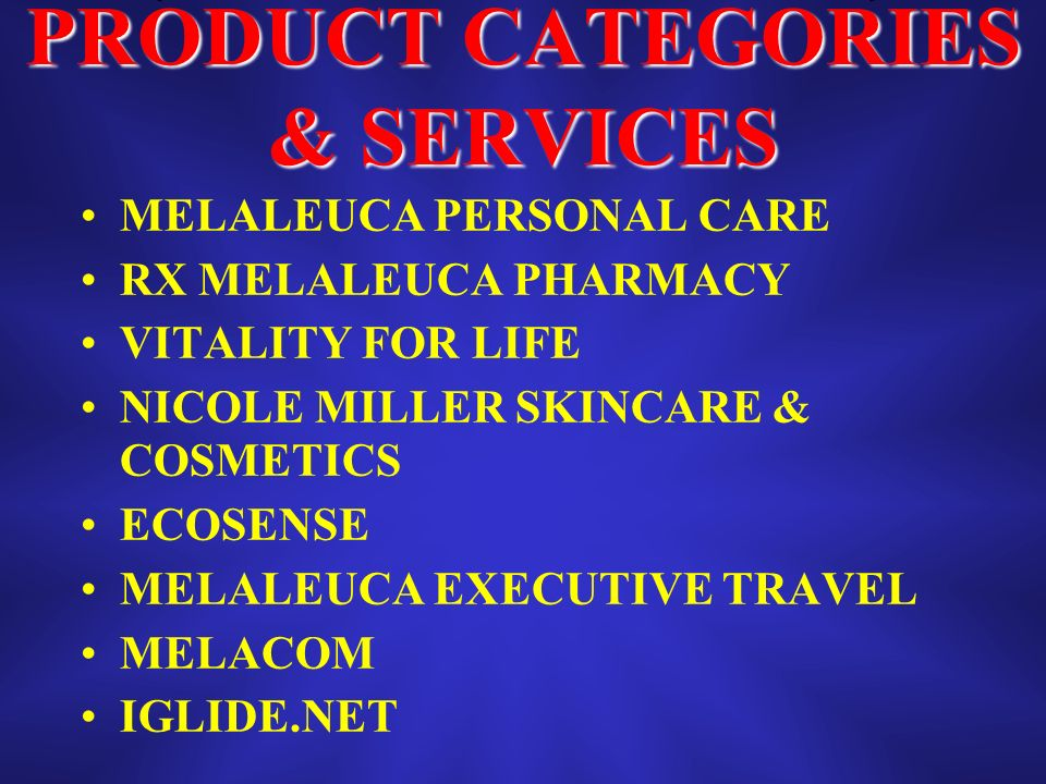 PRODUCT CATEGORIES & SERVICES MELALEUCA PERSONAL CARE RX MELALEUCA PHARMACY VITALITY FOR LIFE NICOLE MILLER SKINCARE & COSMETICS ECOSENSE MELALEUCA EXECUTIVE TRAVEL MELACOM IGLIDE.NET