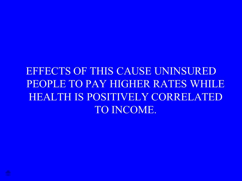 EFFECTS OF THIS CAUSE UNINSURED PEOPLE TO PAY HIGHER RATES WHILE HEALTH IS POSITIVELY CORRELATED TO INCOME.