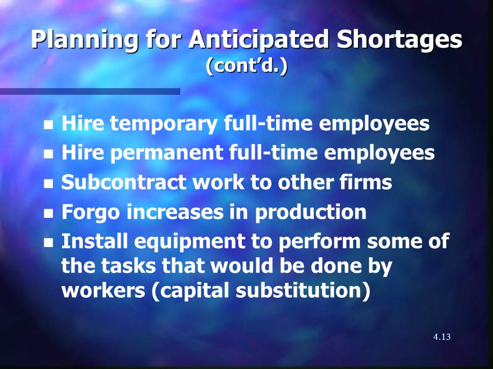 4.13 Planning for Anticipated Shortages (contd.) n n Hire temporary full-time employees n n Hire permanent full-time employees n n Subcontract work to other firms n n Forgo increases in production n n Install equipment to perform some of the tasks that would be done by workers (capital substitution)