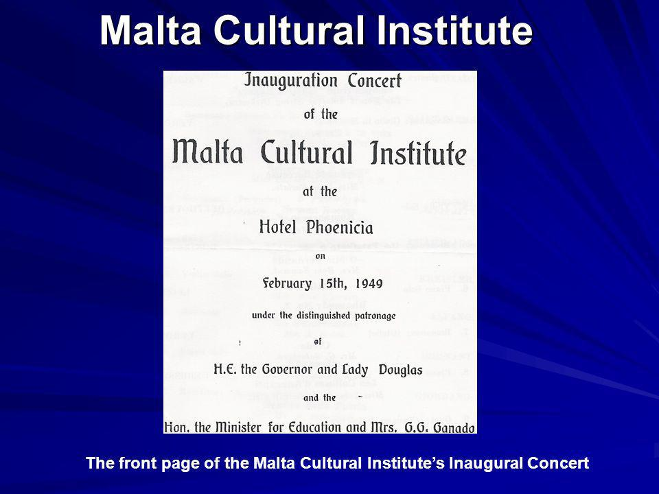 Malta Cultural Institute The front page of the Malta Cultural Institutes Inaugural Concert