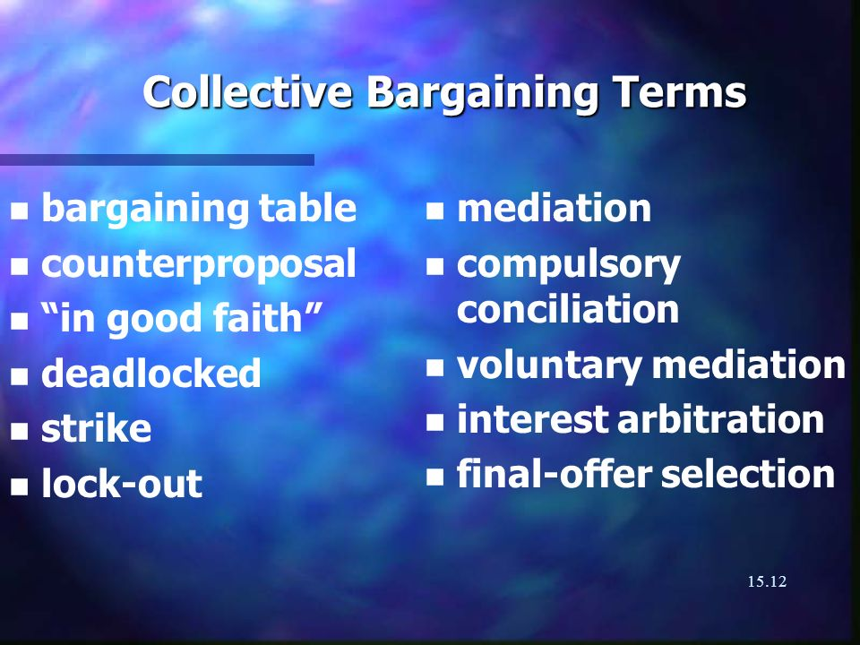 15.12 Collective Bargaining Terms n n bargaining table n n counterproposal n n in good faith n n deadlocked n n strike n n lock-out n mediation n compulsory conciliation n voluntary mediation n interest arbitration n final-offer selection