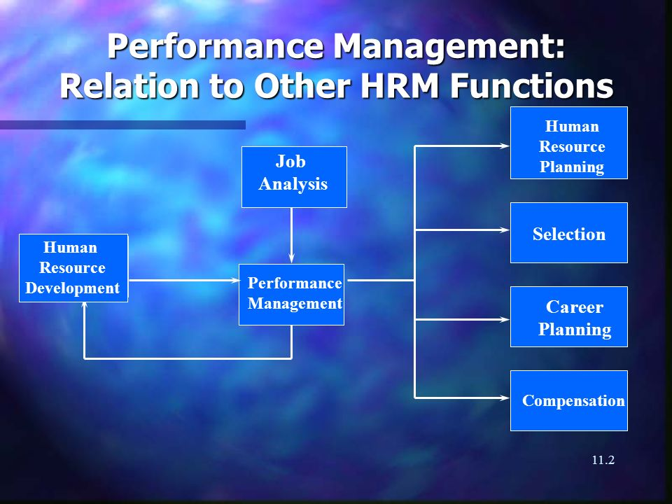 11.2 Performance Management: Relation to Other HRM Functions Job Analysis Human Resource Development Performance Management Human Resource Planning Selection Career Planning Compensation
