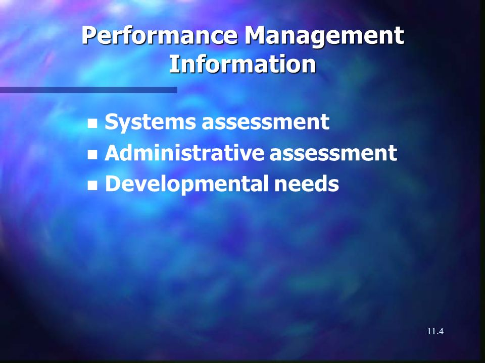 11.4 Performance Management Information n n Systems assessment n n Administrative assessment n n Developmental needs