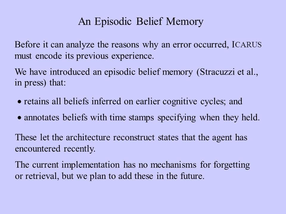An Episodic Belief Memory retains all beliefs inferred on earlier cognitive cycles; and annotates beliefs with time stamps specifying when they held.