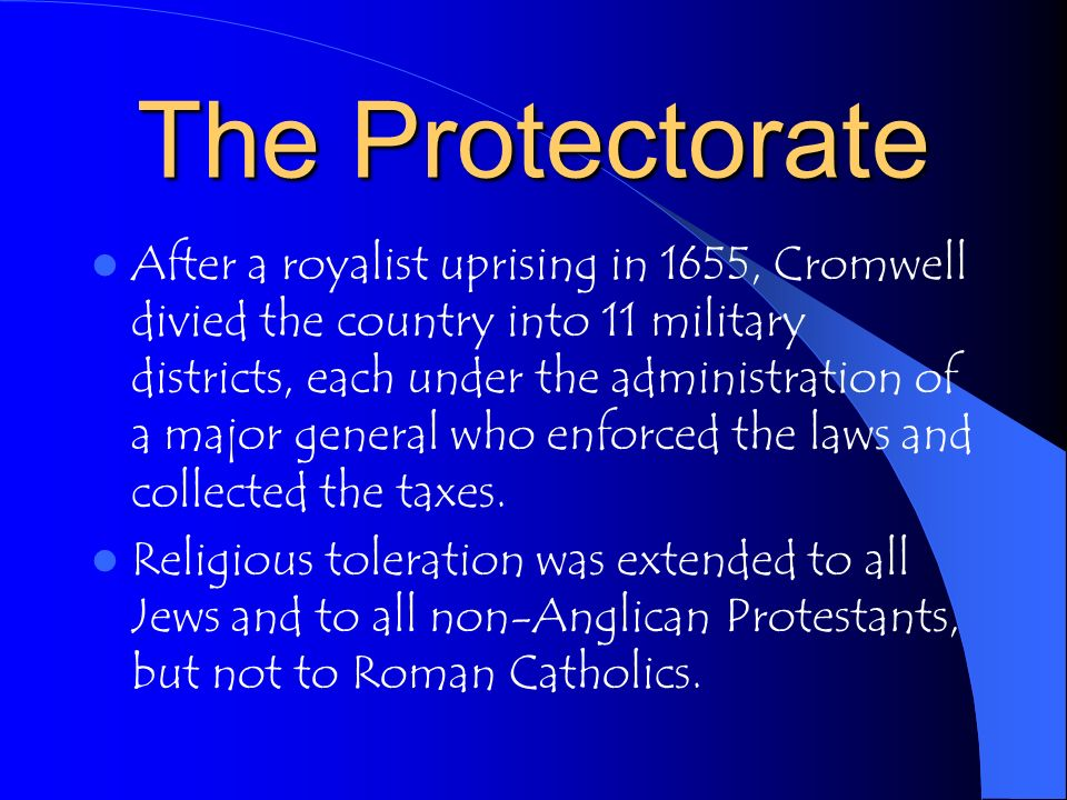 The Protectorate The Instrument of Government, which Cromwell accepted in December of 1653,assumed Cromwell the title Lord Protector of the commonwealth of England, Scotland, and Ireland and stated that Cromwell would agree to share his power with a council of the state and a Parliament of one house.