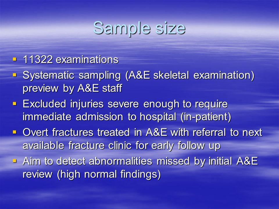 Sample size 11322 examinations 11322 examinations Systematic sampling (A&E skeletal examination) preview by A&E staff Systematic sampling (A&E skeletal examination) preview by A&E staff Excluded injuries severe enough to require immediate admission to hospital (in-patient) Excluded injuries severe enough to require immediate admission to hospital (in-patient) Overt fractures treated in A&E with referral to next available fracture clinic for early follow up Overt fractures treated in A&E with referral to next available fracture clinic for early follow up Aim to detect abnormalities missed by initial A&E review (high normal findings) Aim to detect abnormalities missed by initial A&E review (high normal findings)