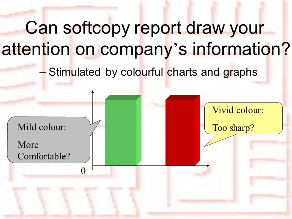 –Stimulated by colourful charts and graphs 0 Mild colour: More Comfortable.