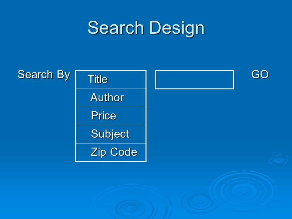 Search Design Search ByGO Title Title Author Author Price Price Subject Subject Zip Code Zip Code
