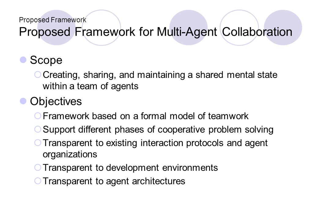 Proposed Framework Proposed Framework for Multi-Agent Collaboration Scope Creating, sharing, and maintaining a shared mental state within a team of agents Objectives Framework based on a formal model of teamwork Support different phases of cooperative problem solving Transparent to existing interaction protocols and agent organizations Transparent to development environments Transparent to agent architectures