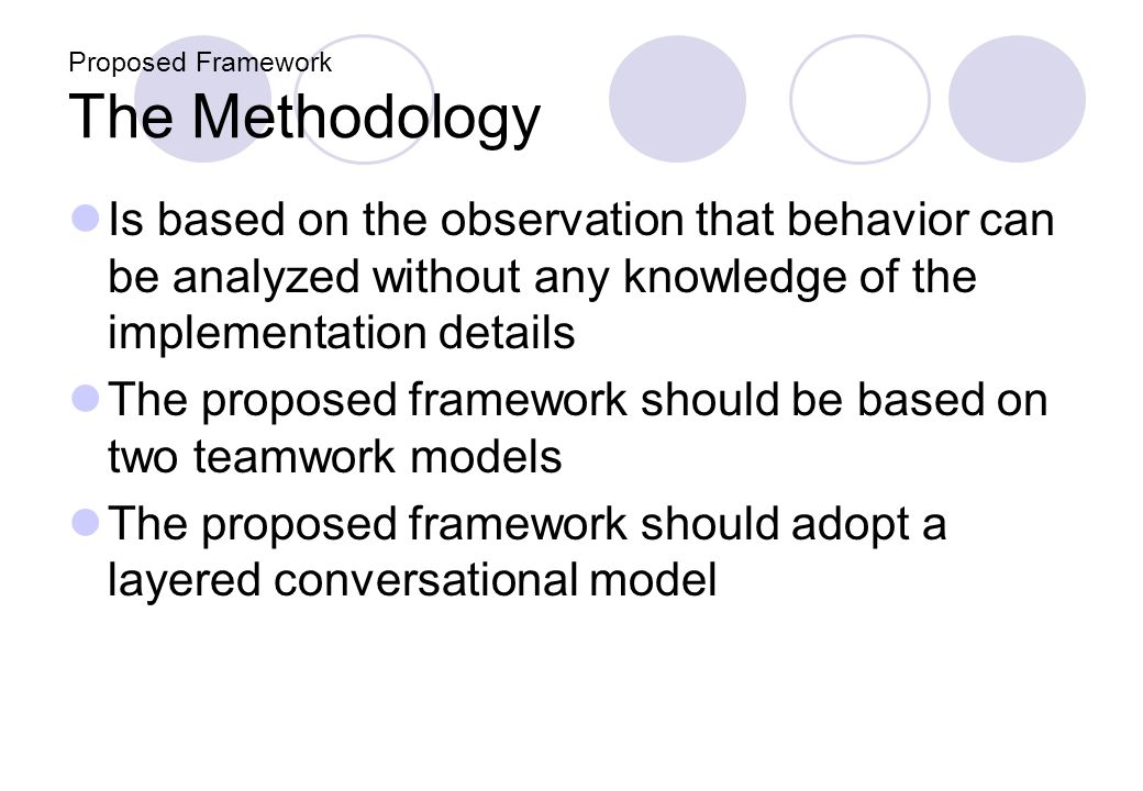Proposed Framework The Methodology Is based on the observation that behavior can be analyzed without any knowledge of the implementation details The proposed framework should be based on two teamwork models The proposed framework should adopt a layered conversational model