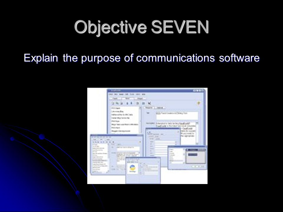 Objective SEVEN Explain the purpose of communications software