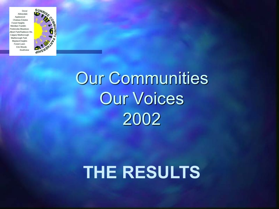 Our Communities Our Voices 2002 THE RESULTS