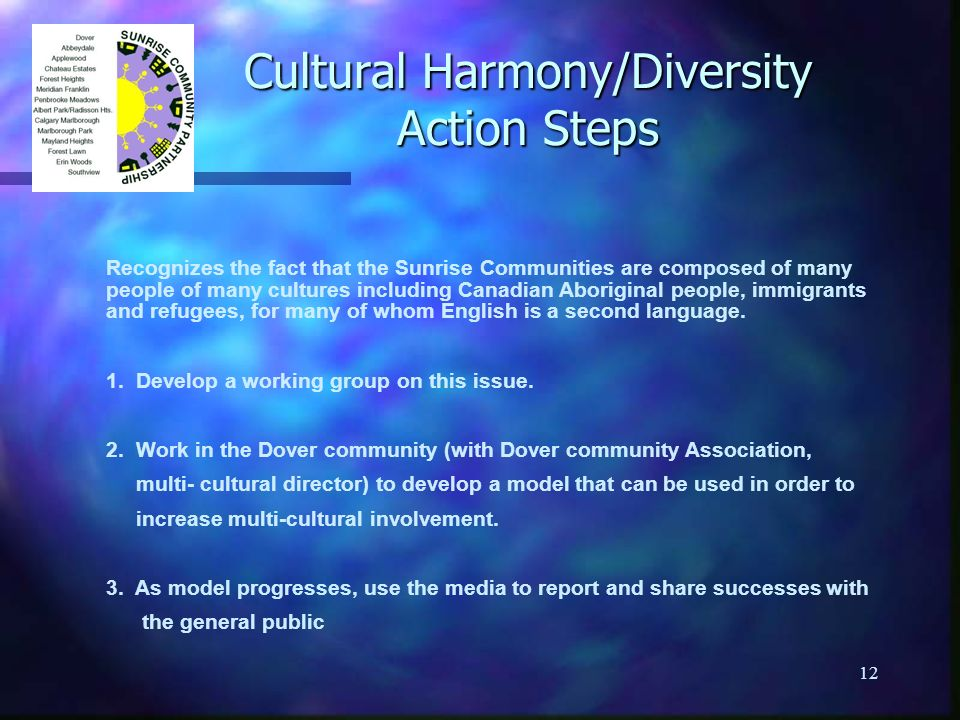 12 Cultural Harmony/Diversity Action Steps Recognizes the fact that the Sunrise Communities are composed of many people of many cultures including Canadian Aboriginal people, immigrants and refugees, for many of whom English is a second language.