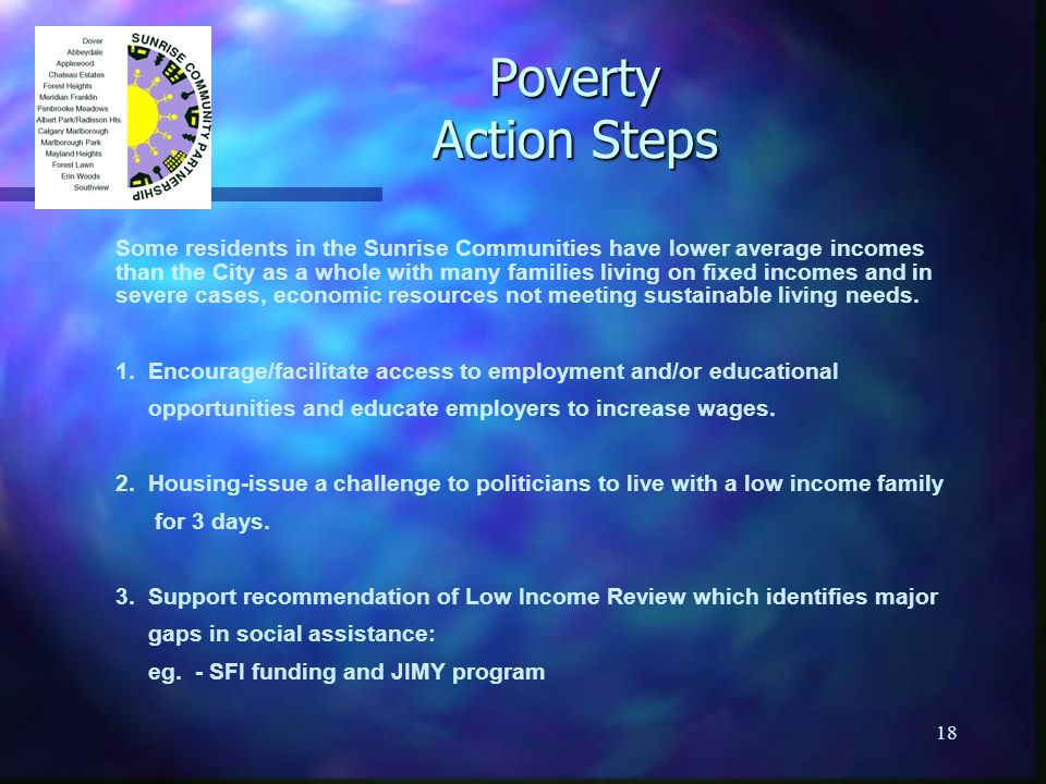 18 Poverty Action Steps Some residents in the Sunrise Communities have lower average incomes than the City as a whole with many families living on fixed incomes and in severe cases, economic resources not meeting sustainable living needs.