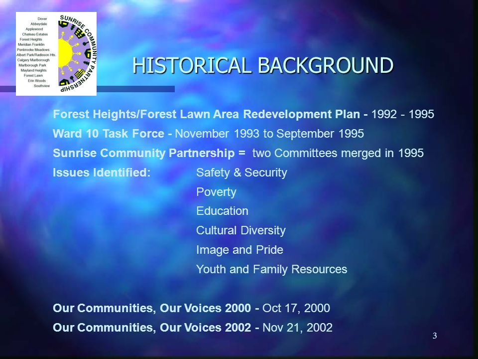 3 HISTORICAL BACKGROUND Forest Heights/Forest Lawn Area Redevelopment Plan - 1992 - 1995 Ward 10 Task Force - November 1993 to September 1995 Sunrise Community Partnership = two Committees merged in 1995 Issues Identified: Safety & Security Poverty Education Cultural Diversity Image and Pride Youth and Family Resources Our Communities, Our Voices 2000 - Oct 17, 2000 Our Communities, Our Voices 2002 - Nov 21, 2002
