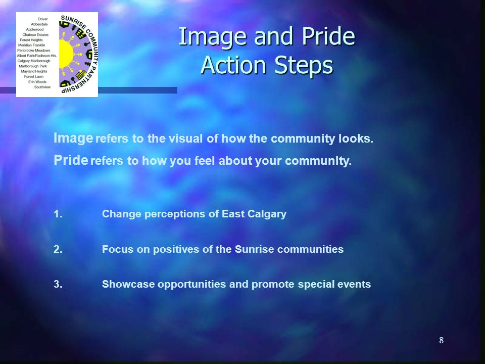 8 Image and Pride Action Steps Image refers to the visual of how the community looks.