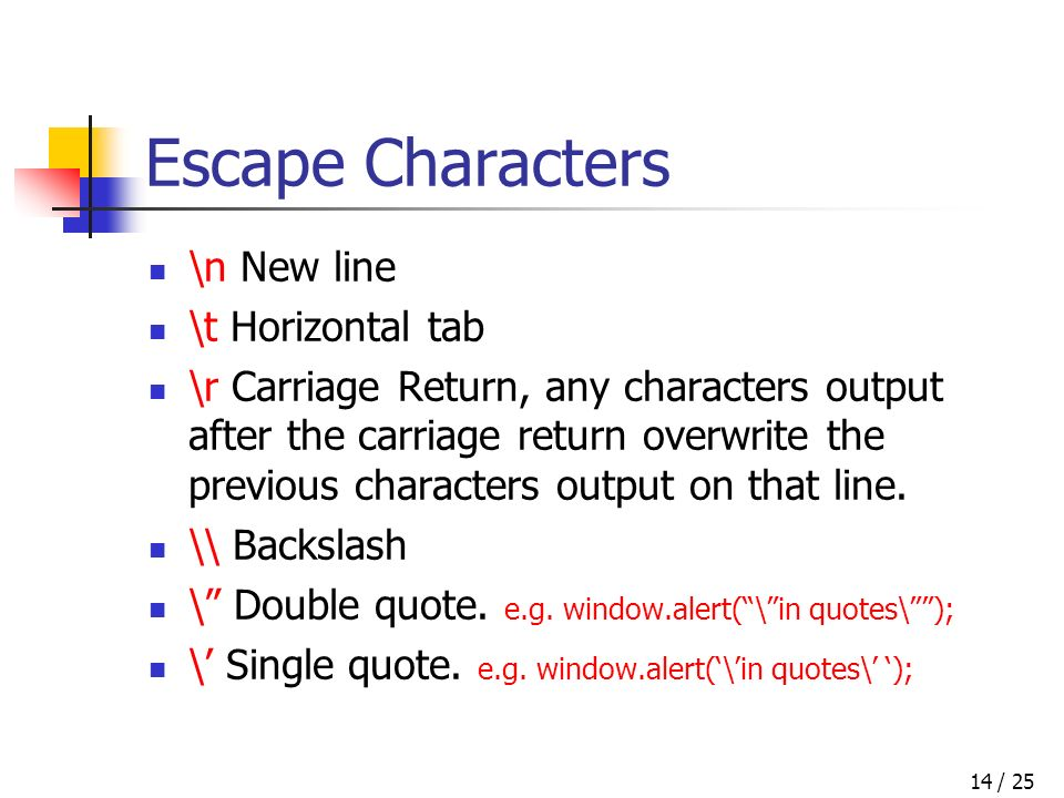 / 2514 Escape Characters \n New line \t Horizontal tab \r Carriage Return, any characters output after the carriage return overwrite the previous characters output on that line.