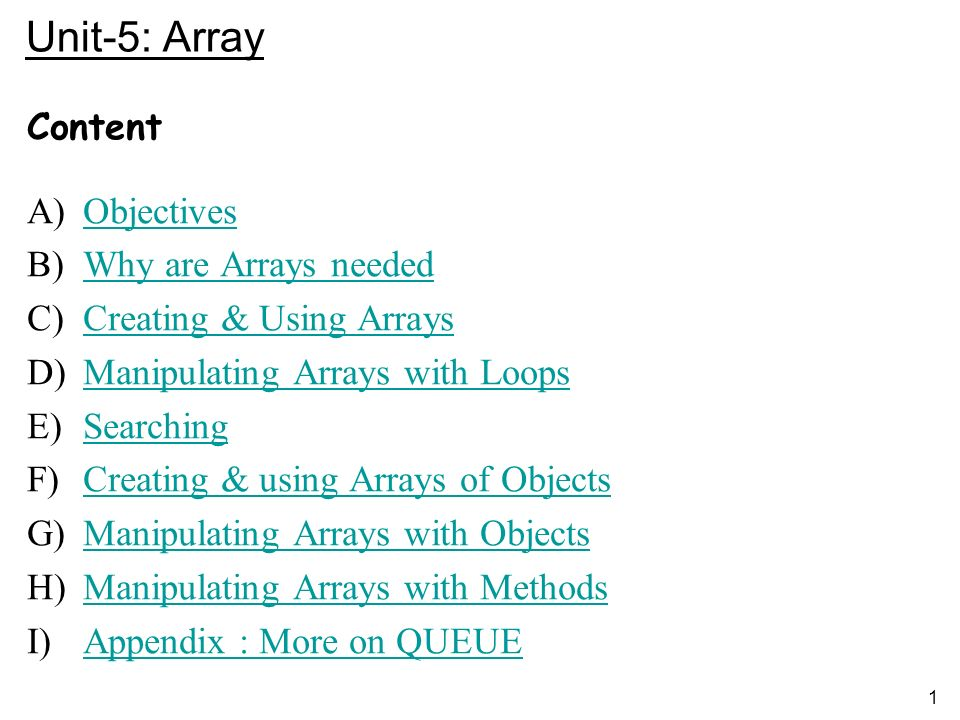 1 Unit-5: Array Content A)ObjectivesObjectives B)Why are Arrays neededWhy are Arrays needed C)Creating & Using ArraysCreating & Using Arrays D)Manipulating Arrays with LoopsManipulating Arrays with Loops E)SearchingSearching F)Creating & using Arrays of ObjectsCreating & using Arrays of Objects G)Manipulating Arrays with ObjectsManipulating Arrays with Objects H)Manipulating Arrays with MethodsManipulating Arrays with Methods I)Appendix : More on QUEUEAppendix : More on QUEUE