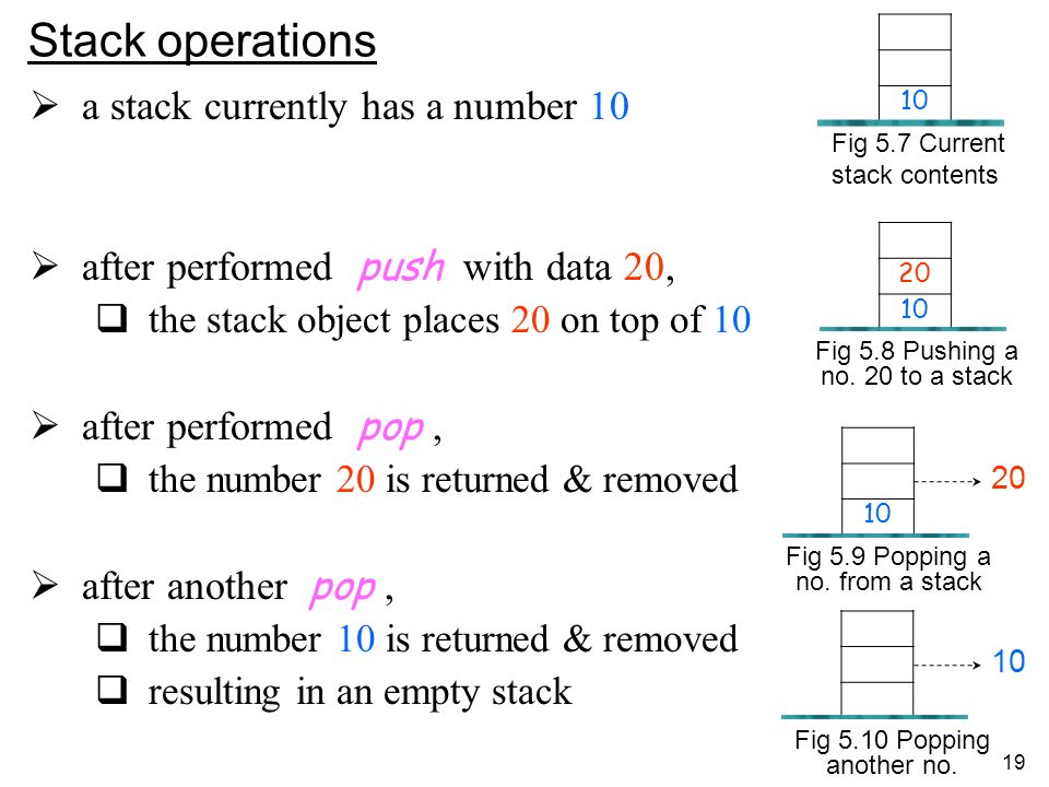 19 Stack operations a stack currently has a number 10 after performed push with data 20, the stack object places 20 on top of 10 after performed pop, the number 20 is returned & removed after another pop, the number 10 is returned & removed resulting in an empty stack 20 10 Fig 5.8 Pushing a no.