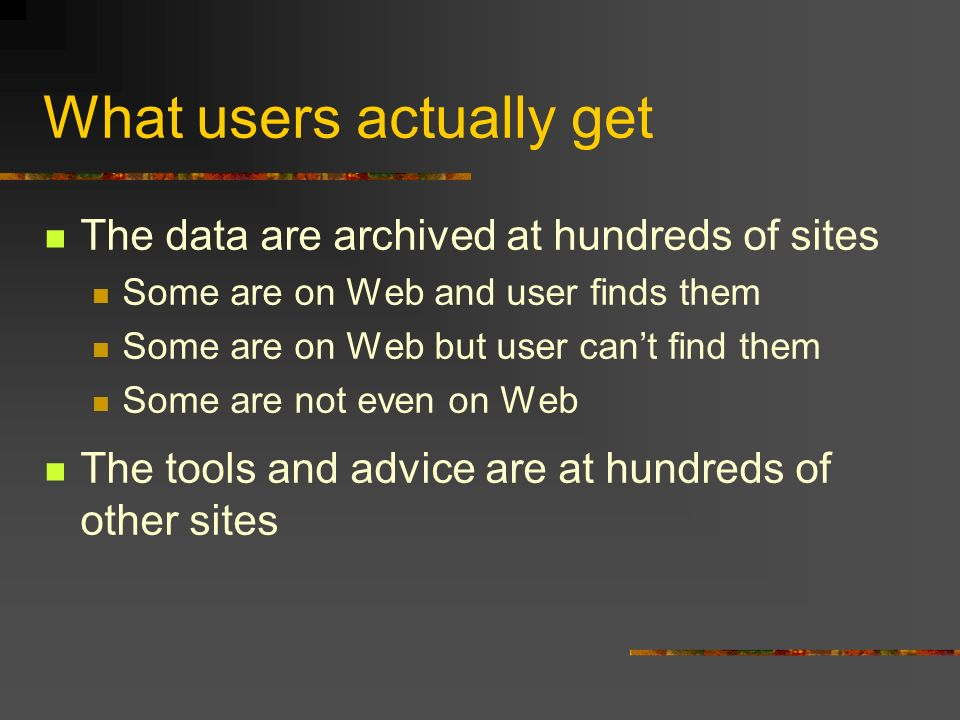 What users actually get The data are archived at hundreds of sites Some are on Web and user finds them Some are on Web but user cant find them Some are not even on Web The tools and advice are at hundreds of other sites