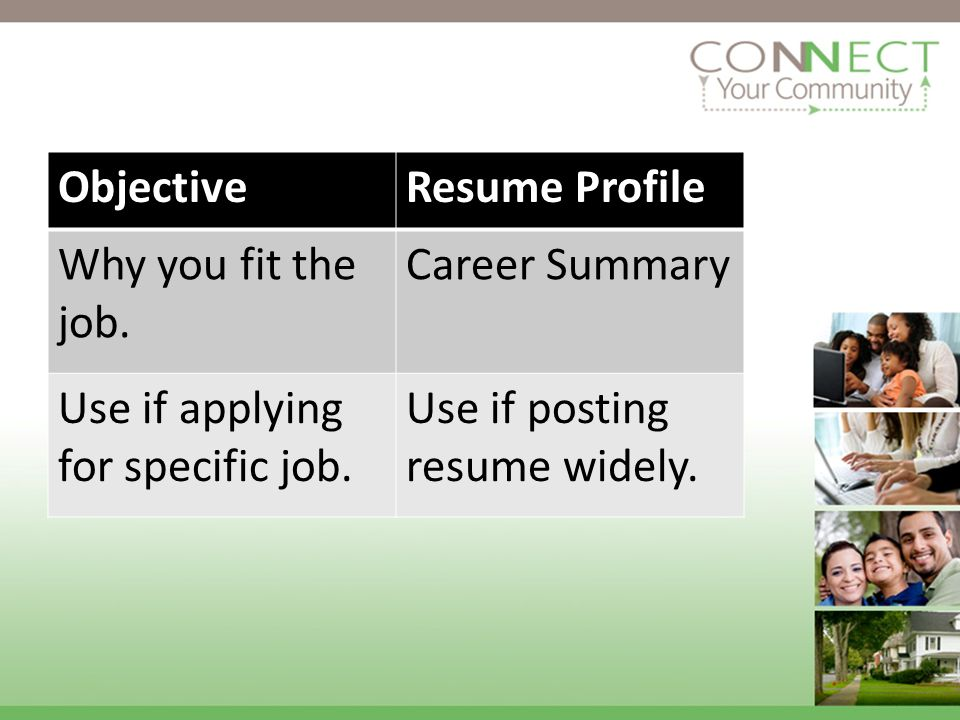 ObjectiveResume Profile Why you fit the job. Career Summary Use if applying for specific job.
