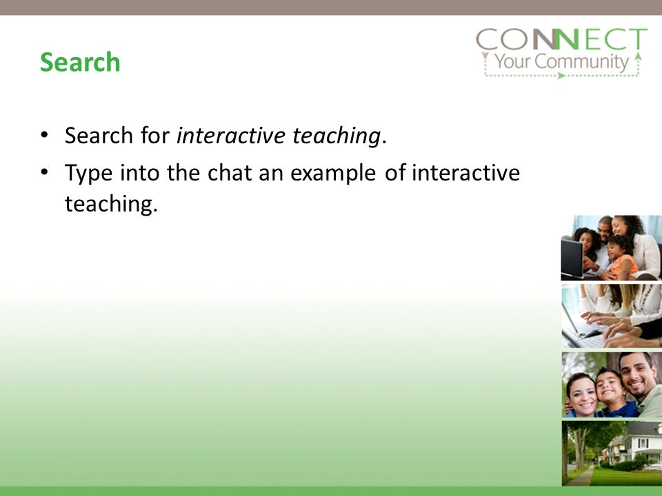 Search Search for interactive teaching. Type into the chat an example of interactive teaching.