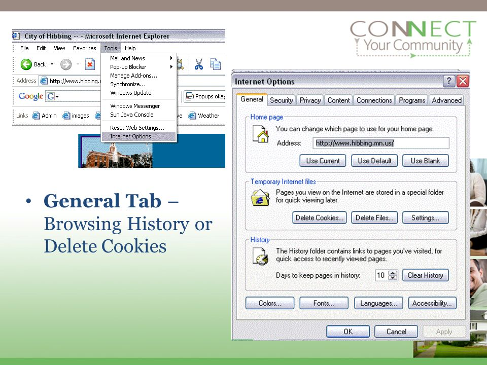 General Tab – Browsing History or Delete Cookies