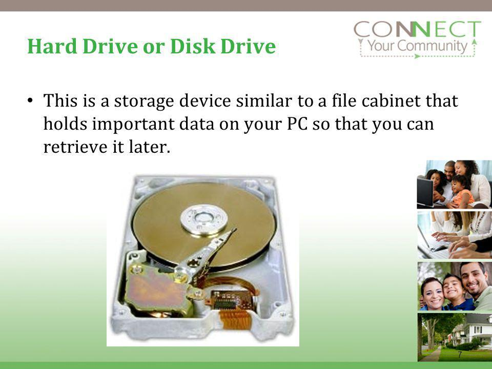 7 Hard Drive or Disk Drive This is a storage device similar to a file cabinet that holds important data on your PC so that you can retrieve it later.
