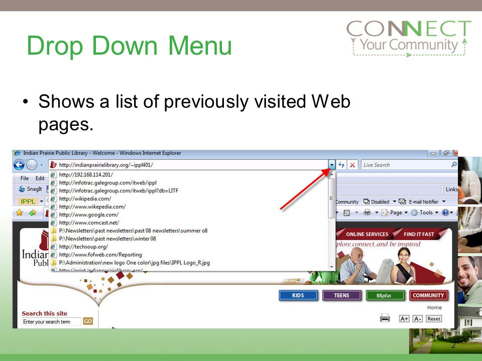2 Drop Down Menu Shows a list of previously visited Web pages.