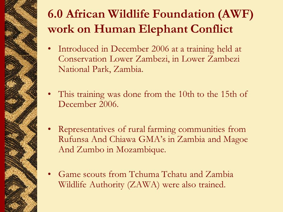 6.0 African Wildlife Foundation (AWF) work on Human Elephant Conflict Introduced in December 2006 at a training held at Conservation Lower Zambezi, in Lower Zambezi National Park, Zambia.