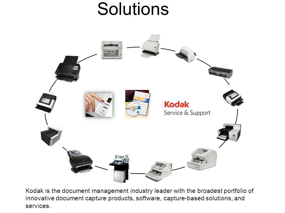 Scanners, Software, Service, Solutions Kodak is the document management industry leader with the broadest portfolio of innovative document capture products, software, capture-based solutions, and services.
