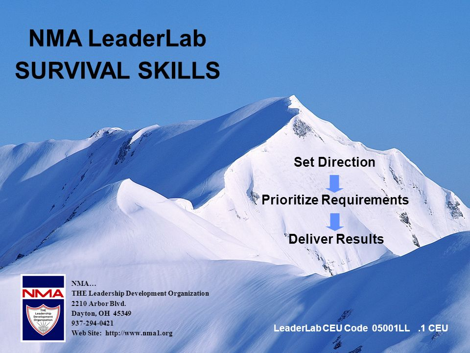 1 Set Direction NMA LeaderLab SURVIVAL SKILLS Prioritize Requirements Deliver Results NMA… THE Leadership Development Organization 2210 Arbor Blvd.