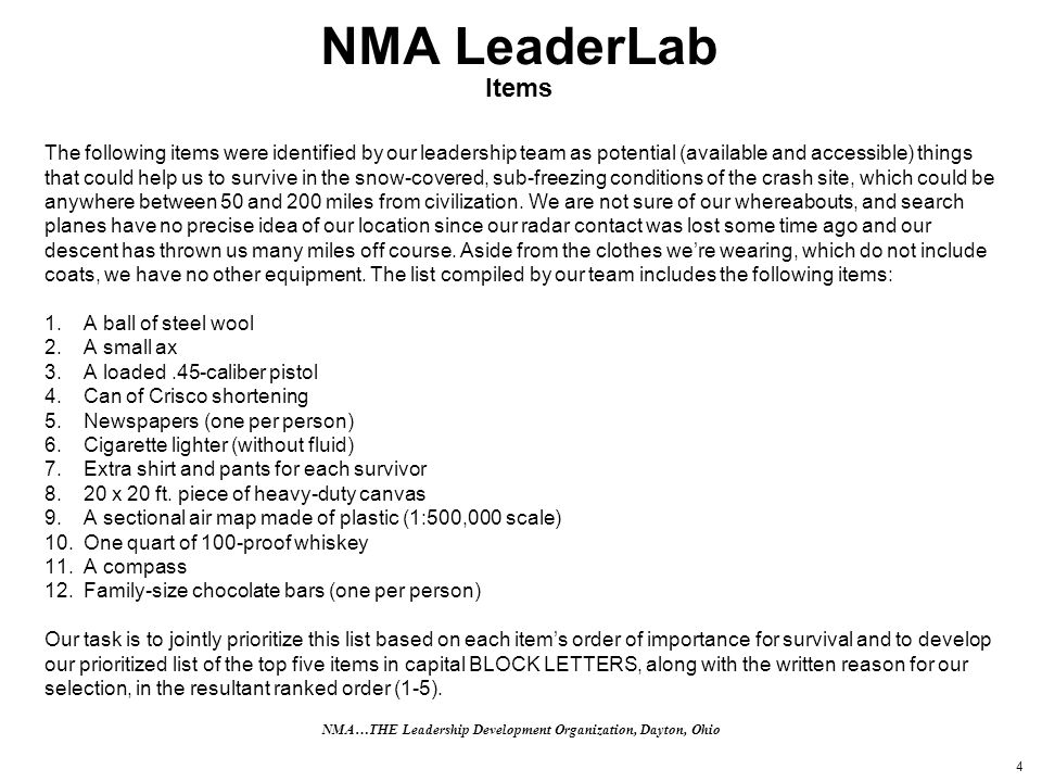4 NMA LeaderLab Items The following items were identified by our leadership team as potential (available and accessible) things that could help us to survive in the snow-covered, sub-freezing conditions of the crash site, which could be anywhere between 50 and 200 miles from civilization.