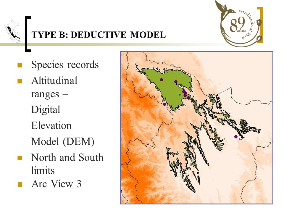 TYPE B: DEDUCTIVE MODEL Species records Altitudinal ranges – Digital Elevation Model (DEM) North and South limits Arc View 3